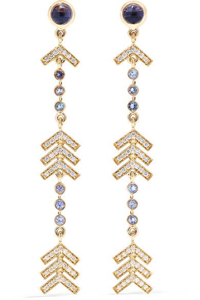 MARLO LAZ Long Arrow 14-karat gold multi-stone earrings
