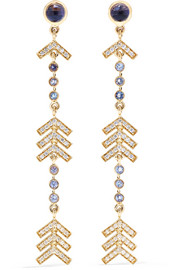 Long Arrow 14-karat gold multi-stone earrings