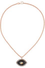 Eyecon 14-karat rose gold multi-stone necklace