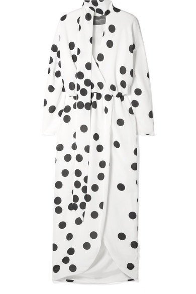 MONIQUE LHUILLIER WRAP-EFFECT PUSSY-BOW POLKA-DOT CHIFFON MIDI DRESS
