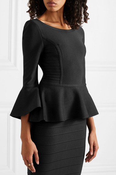 Fluted Bandage Peplum Top by Hervé Léger
