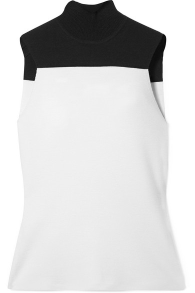 Narciso Rodriguez - Two-tone Wool-blend Turtleneck Top - White