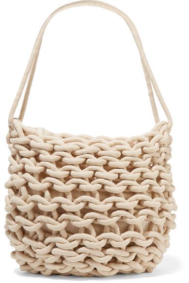 ALIENINA Woven Cotton Shoulder Bag in White