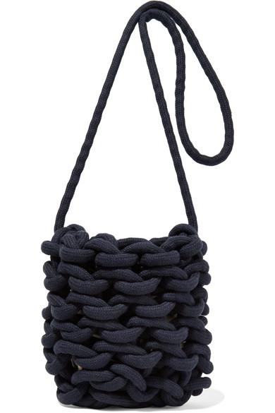 ALIENINA Woven Cotton Shoulder Bag in Navy