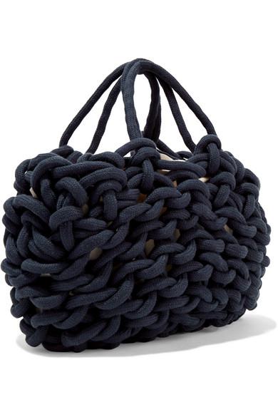 Woven Cotton Shoulder Bag - Navy Alienina JzoK049l4h