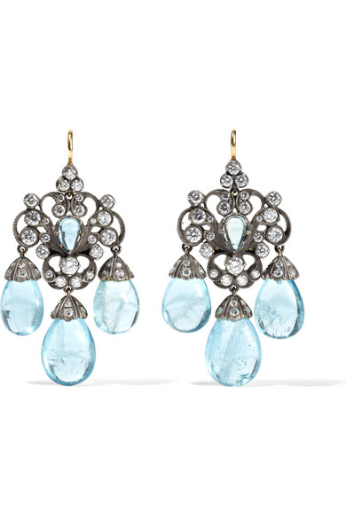 FRED LEIGHTON COLLECTION 18-KARAT GOLD, SILVER, DIAMOND AND AQUAMARINE EARRINGS