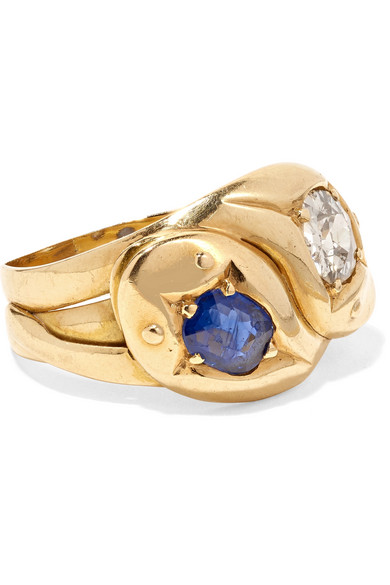 FRED LEIGHTON 1900S 18-KARAT GOLD, DIAMOND AND SAPPHIRE RING