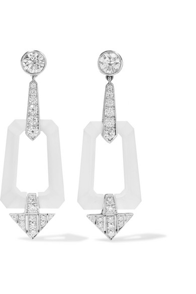 FRED LEIGHTON COLLECTION 18-KARAT WHITE GOLD, ROCK CRYSTAL AND DIAMOND EARRINGS