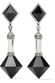 Collection 18-karat white gold multi-stone earrings