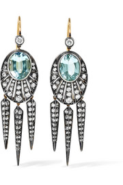 Collection 18-karat gold, aquamarine and diamond earrings