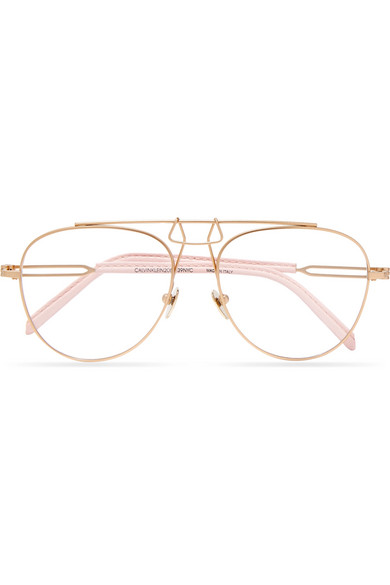 f1d6d3782a CALVIN KLEIN 205W39NYC. Aviator-style leather-trimmed gold-tone optical  glasses