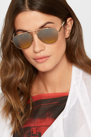 Aviator-style gold-tone and acetate mirrored sunglasses
