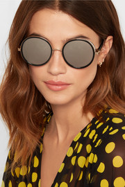 Andie round-frame glittered acetate mirrored sunglasses