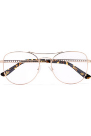 Jimmy Choo Aviator-style rose gold-tone optical glasses