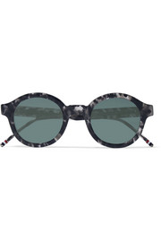Round-frame tortoiseshell acetate mirrored sunglasses