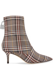 Monse Lock plaid canvas ankle boots