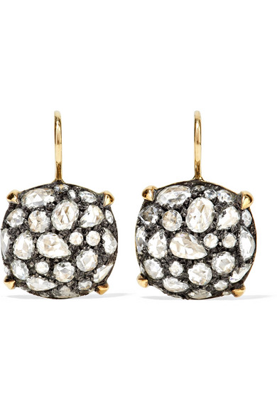 FRED LEIGHTON COLLECTION 18-KARAT GOLD, STERLING SILVER AND DIAMOND EARRINGS