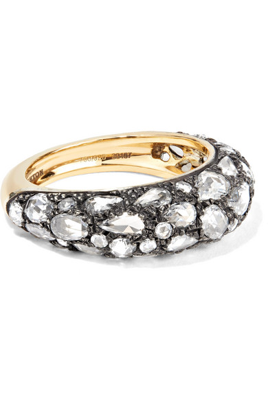 FRED LEIGHTON COLLECTION 18-KARAT GOLD, STERLING SILVER AND DIAMOND RING