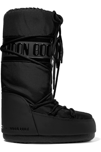 MOON BOOT Shell And Rubber Snow Boots in Black
