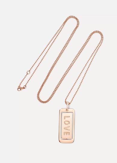 DIANE KORDAS REAL LOVE 18-KARAT ROSE GOLD DIAMOND NECKLACE