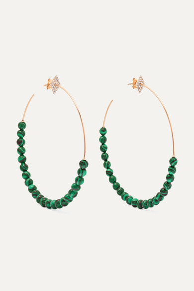 DIANE KORDAS 18-KARAT ROSE GOLD, DIAMOND AND MALACHITE HOOP EARRINGS