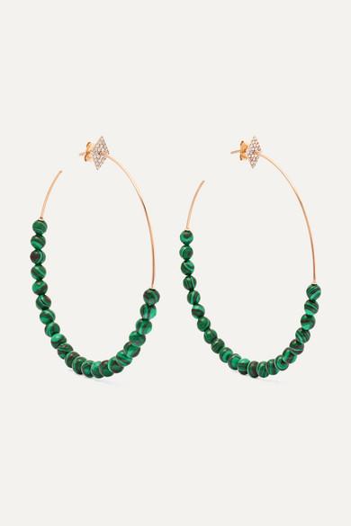 Shield 18-karat Rose Gold Diamond Hoop Earrings - one size Diane Kordas jfhO5lokH
