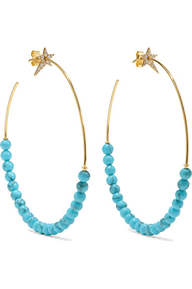 DIANE KORDAS STAR 18-KARAT GOLD, DIAMOND AND TURQUOISE HOOP EARRINGS
