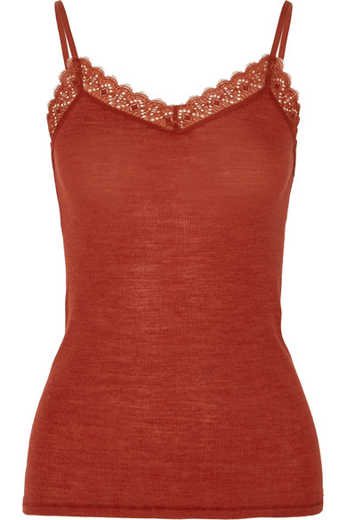 Leavers Lace Trimmed Wool And Silk Blend Jersey Camisole by Hanro