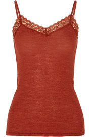 Leavers lace-trimmed wool and silk-blend jersey camisole