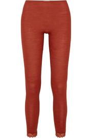 Leavers lace-trimmed wool and silk-blend jersey leggings