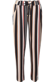 Striped cotton and modal-blend pajama pants