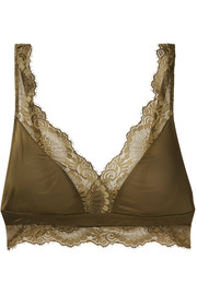 Laila lace-trimmed stretch-satin soft-cup triangle bra