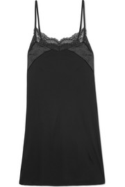 Ava lace and velvet-trimmed modal and silk-blend chemise