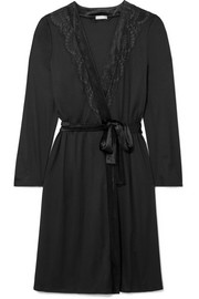 Ava lace and velvet-trimmed modal and silk-blend robe