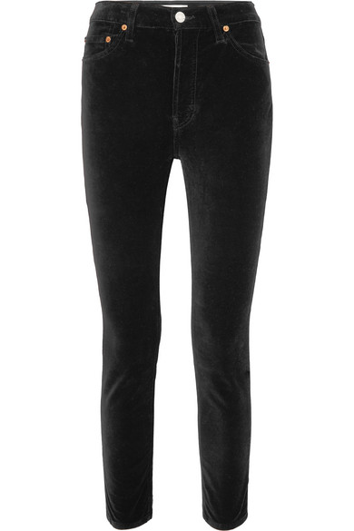 RE/DONE High Rise Ankle Crop Stretch-Velvet Skinny Pants in Black