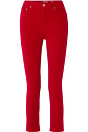 Cropped high-rise stretch-velvet skinny pants