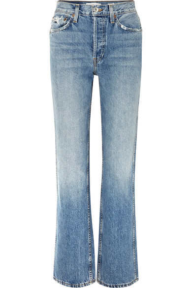 RE/DONE Originals distressed high-rise straight-leg jeans