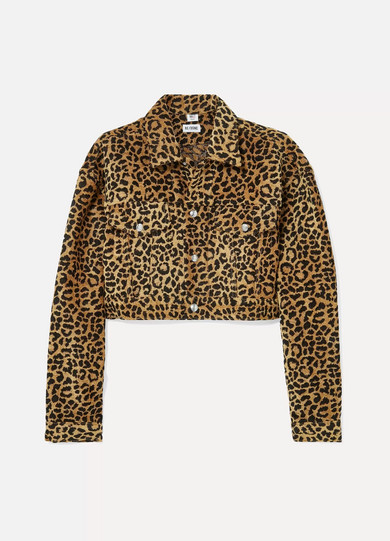 RE/DONE - Cropped Leopard-print Velvet Jacket - Leopard print