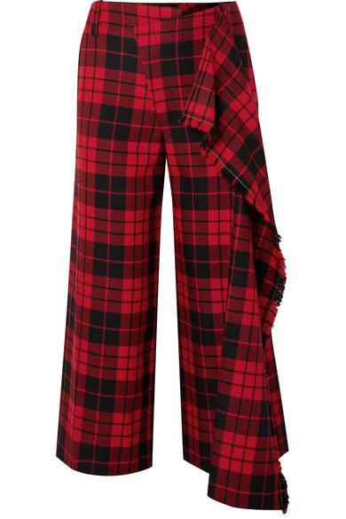 Monse - Cropped Tartan Wool Wide-leg Pants - Red