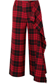 Monse Cropped tartan wool wide-leg pants