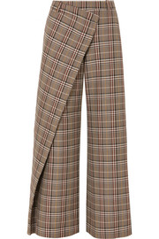 Monse Wrap-effect checked wool-blend canvas wide-leg pants