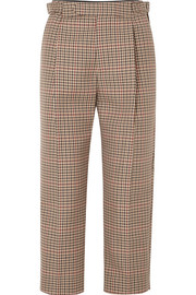 Monse Cropped pleated checked wool-blend tapered pants