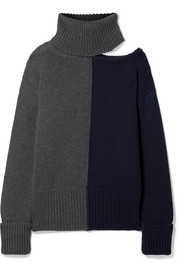 Monse Cutout two-tone wool turtleneck sweater