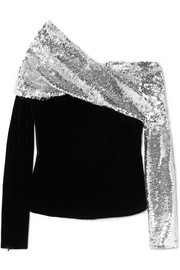 Monse One-shoulder sequined crepe and velvet top