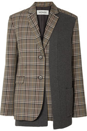 Monse Paneled checked woven blazer