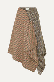 Monse Asymmetric paneled checked wool-blend midi skirt