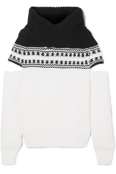 Monse Cold-shoulder Fair Isle wool sweater