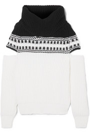Cold-shoulder Fair Isle wool sweater
