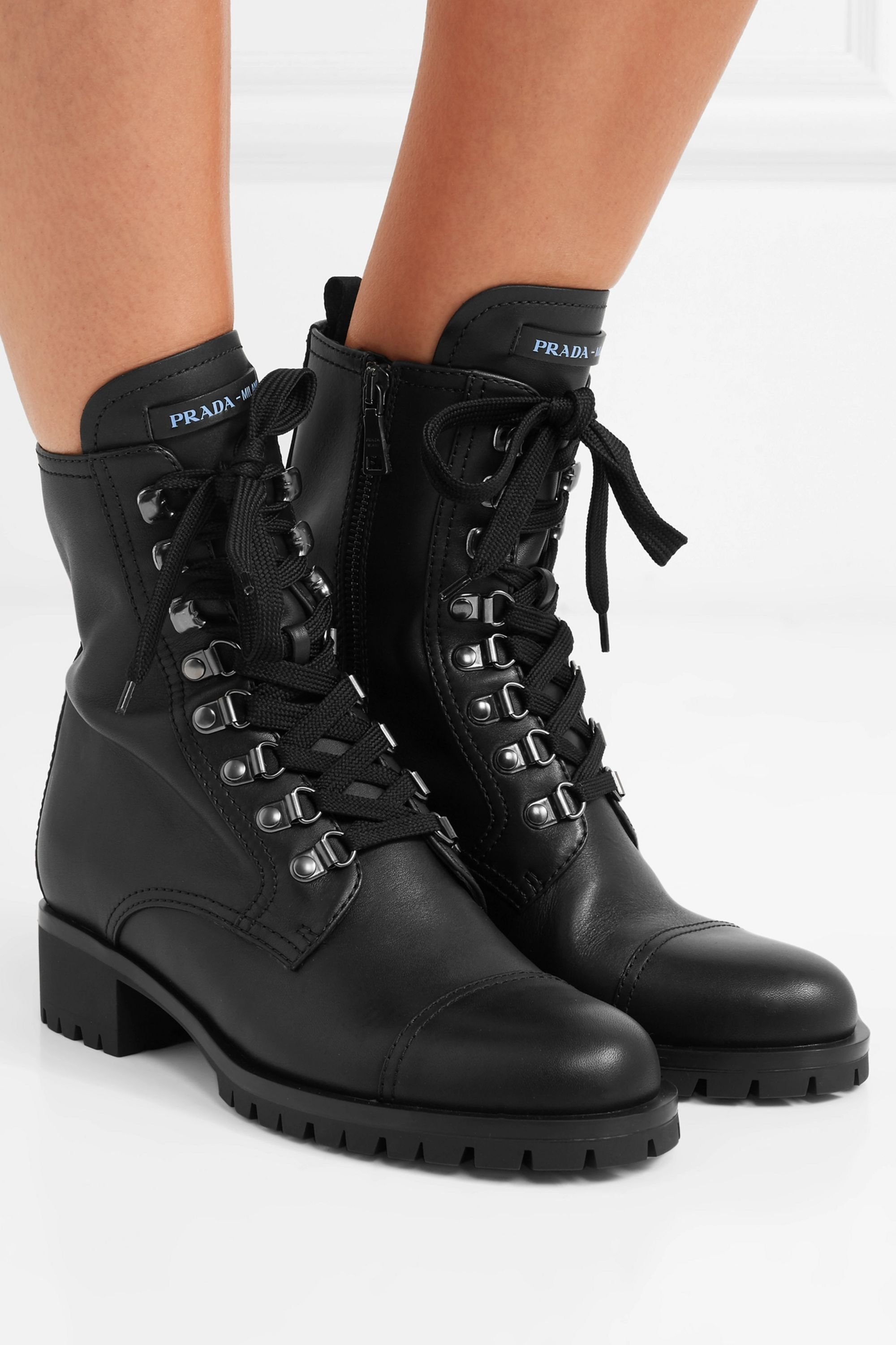 Leather laced heeled ankle boots | Lace