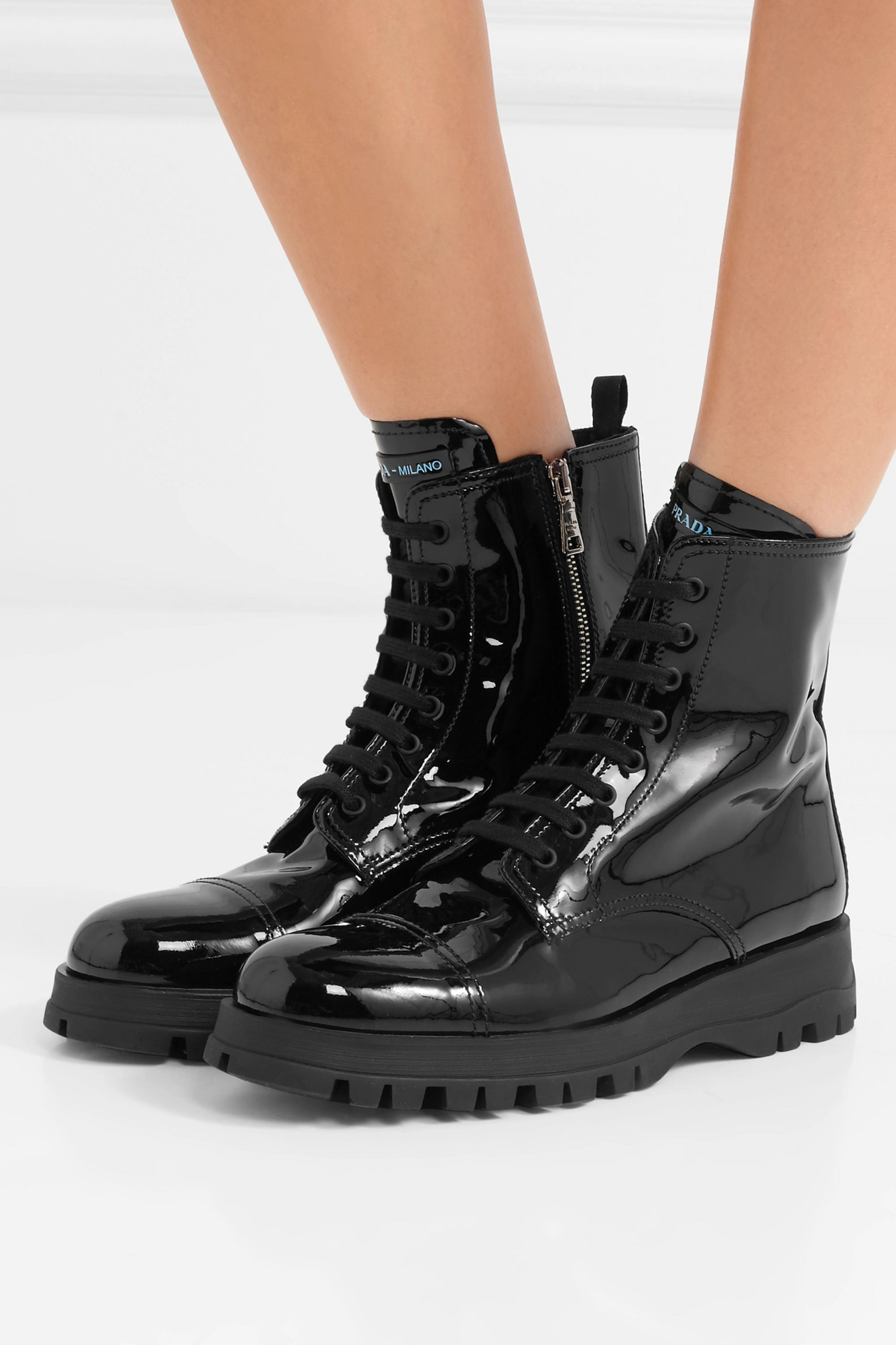 Black Lace-up patent-leather ankle